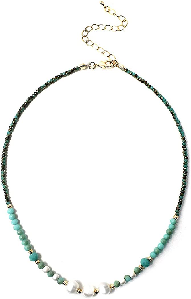 Fashion Jewelry ~ Faux Pearls and Turquoise Color Natural Stone Necklace for Women Teens Girlfriends Birthday Gift