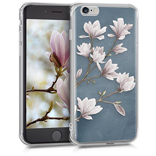 kwmobile Funda Compatible con Apple iPhone 6 / 6S - Carcasa de TPU y Magnolias en marrón Topo/Blanco/Gris Azulado