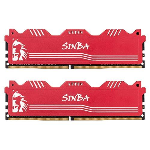 LEVEN SINBA SINBA4U3000172408R-32Mx2 DDR4 64GB (2×32GB) 3000MHz XMP 2.0 PC4-24000 CL16 288-Pin U-DIMM - Módulo de memoria RAM para ordenador de sobremesa para juegos, color rojo