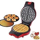 Tostiera Waffles Piastra, Macchina Per Waffle Elettrica 3 In 1 Con 3 Piastre di Rivestimento Antiaderenti Sostituibili (ciambella, Waffle e Cono Gelato), Facile da Pulire