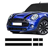 Car Styling Hood Bonnet Stripes Sticker Trunk Rear Engine Cover Vinyl Decal Stickers for Mini Cooper R56 R57 F55 F56 Accessories (Black-White)