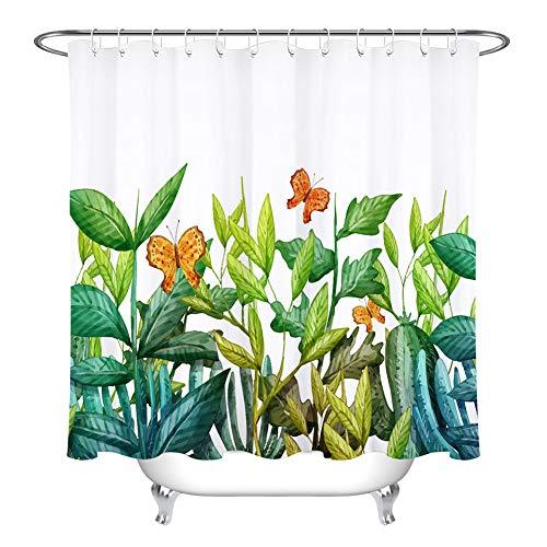 ZZZdz vlinder op groene plant. Douchegordijn. 180 x 180 cm. 12 vrije haken. Waterdicht. Eenvoudig te reinigen. Badkameraccessoires.