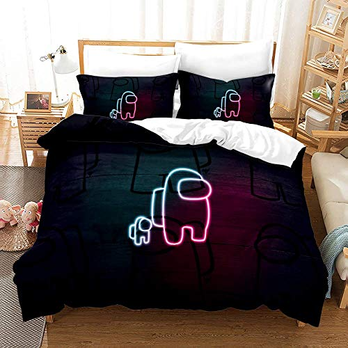 YOMOCO Among Us Bettbezug Bettwäsche Set - Bettbezug und Zwei Kissenbezug,Mikrofaser (17,Single 135x200cm+ 50x75cmx2)
