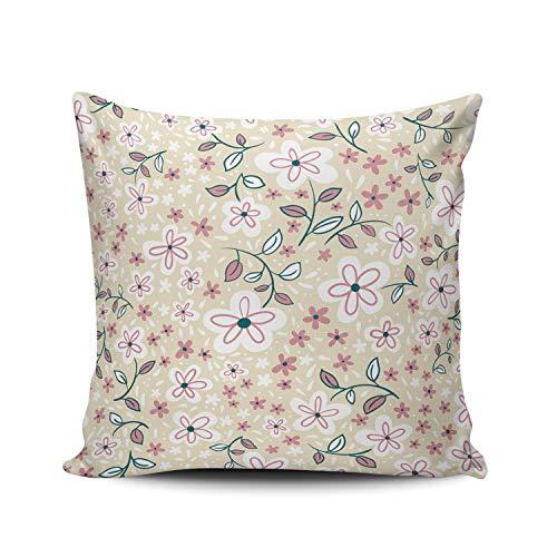 GOSMAO Funda de Almohada Flor Linda Abstracta Algodón Lino Throw Pillow Case Funda de Almohada para Cojín 45x45 cm