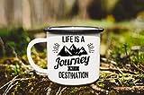 Enamel Mug 10oz Metal Camp Mug Enamel Mug For Camping Adventure Awaits Vanlife Custom Travel Mug Enamelware Camping Mug Mountain Mug Handmade Mug Gift For Dad(Black Edge)