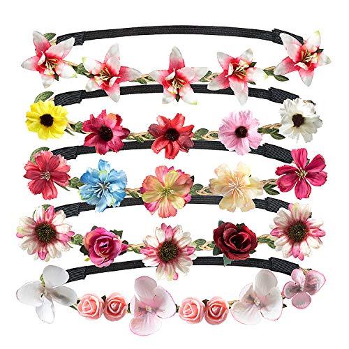 Jolintek 5 Piezas Multicolor Corona de Flor Venda de Pelo Redondo Coronas Flores Para Mujer Niña Boda Fiesta con banda Elástica