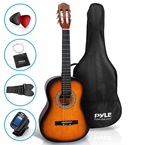 "Beginner 36"" Classical Acoustic Guitar - 3/4 Junior Size 6 String Linden Wood Guitar w/Gig Bag, Tuner, Nylon Strings, Picks, Strap, for Beginners, Adults - Pyle PGACLS82SUN (Sun Burst)"