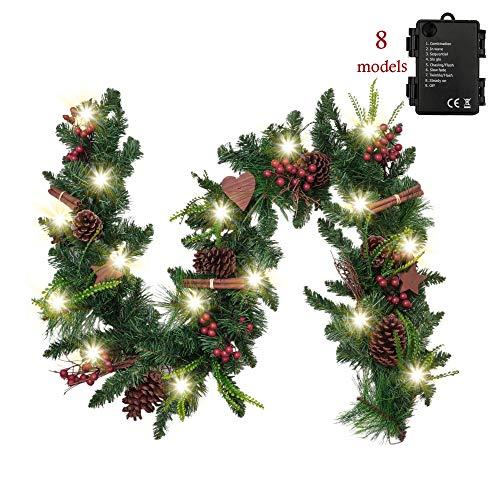 Valery Madelyn Weihnachtsgirlande 1.8M mit 20 LED Beleuchtet batteriebetrieben Tannengirlande aus PVC Weihnachtsdeko mit Timerfunktion Holzsterne Girlande für In-/ Outdoor Grün Rot MEHRWEG Verpackung
