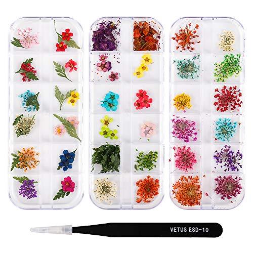 Xinzistar 3 Boxen Nagel Getrocknete Blume mit Pinzette, Nagelkunst Aufkleber Getrocknete Blüten Nägel Zubehör Nageldesign Nagelsticker Nail Art Dekoration Nägel Set