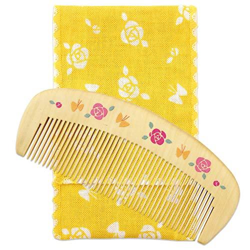 日本製 潤いつげ櫛 携帯便利!天然生しぼり100%の椿油を使用 (薔薇と蝶)