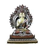 Figura Buda Shakyamuni 29 x 24 cm con aura - Bicolor latón cobre...