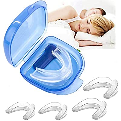 BUVE Mouth Guard for Grinding Teeth, Professional Night Sleep Teeth Guards for Clenching Teeth/Teeth Straightener/Teeth Whitening Trays - 4 Pcs,2 Size (Blue-1, 4pcs)