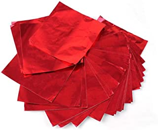 Metallic Foil Paper Sheets, Origami Folding Paper 100 Square Sheets, Foil Confectionery Wrapper, Red