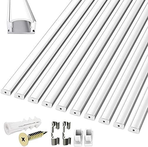 10X 1M LED Aluminium Profil, LED-Aluminium Profil U-Form mit Abdeckung, 100CM Profil LED für LED Streifen, Abdeckungen in milchig-weiß, Endkappen, und Montagematerial
