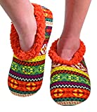 Snoozies Womens Comfy Soft Nordic Knit Fleece Slipper Socks - Rust, Extra-Large