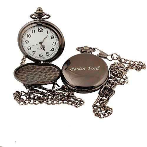 GP Personalized Pocket Watch Custom Gunmetal Watch for Wedding Groomsman Usher Gift