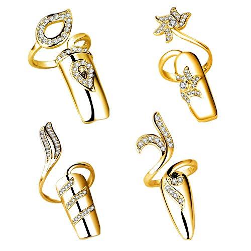 4 anelli per unghie con strass alla moda per unghie e unghie, gioielli regolabili per donne e ragazze, 4 pezzi