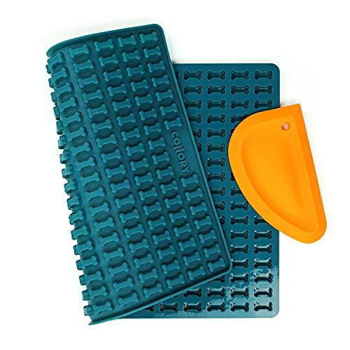 Collory Mini Knochen (2cm) Silikon Backform und Teigschaber Set, Backmatte für Hundekekse und Leckerlis DIY, Pralinenform, Antihaftend und Lebensmittelecht (BPA-Frei)