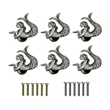 RUN 6 Pieces Retro Mermaid Pull Knobs Decorative Cabinet Closet Drawer Cupboard Furniture Single Hole Handles (Antique Pewter)