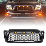 VZ4X4 Mesh Grille Front ABS Grill, Compatible with Toyota Tacoma 2005-2011 (Matte Black)