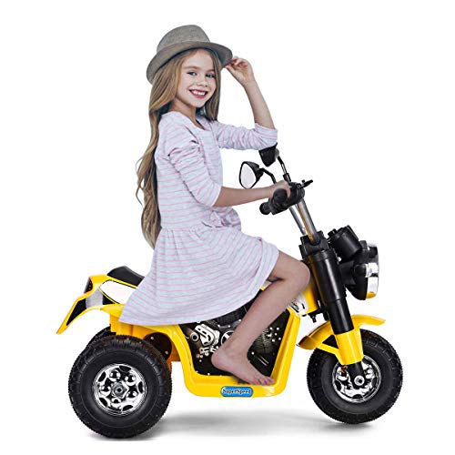 DREAMADE Elektro-Motorrad Elektrofahrzeug für Kinder, kinderfahrzeug Kindermotorad Kinderwagen mit Scheinwerfern & Hupe, Elektro-Motorrad für Kinder 2-3 Jahre (Gelb)