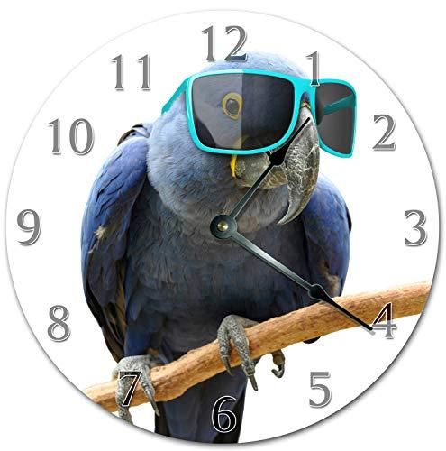 Reloj de pared grande de 10 pulgadas con diseño de loros en un fresco gafas de sol para sala de estar, reloj de pared de 10 pulgadas