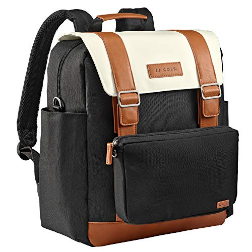 JJ Cole Bloomfield Modular Knapsack Diaper Bag, Ivory and Onyx