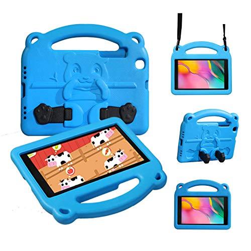 KINGSKEEN Hülle für Samsung Galaxy Tab A 8 Zoll(2019), SM-T290/T295, Eva-Hülle, Stoßdämpfung, Cabrio, integrierter Handgriff, leichte Kinderhülle mit Schultergurt (BLAU)