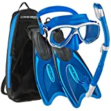 Cressi Palau Long Mask Fin Snorkel Set, Brisbane Blue, Small/Medium