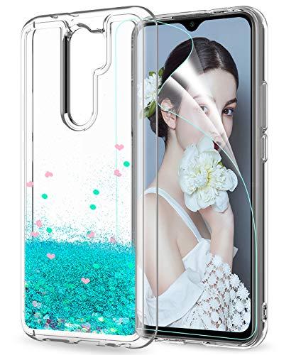 LeYi Funda Xiaomi Redmi 9 Silicona Purpurina Carcasa con HD Protector de Pantalla, Transparente Cristal Bumper Telefono Gel TPU Fundas Case Cover para Movil Redmi 9 ZX Verde