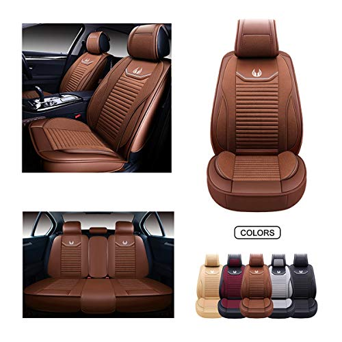 OASIS AUTO Leather&Fabric Car Seat Covers, Faux Leatherette Automotive Vehicle Cushion Cover for Cars SUV Pick-up Truck Universal Fit Set Auto Interior Accessories (OS-008 Full Set, Brown)