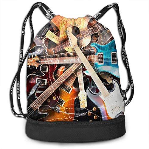 Music Guitar Print Drawstring Bag Backpack Sport Travel Gym School Hiking Yoga Beach Cinch Bags Bundle Backpack for Women/Men