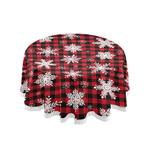 """Vdsrup Christmas Snowflakes Winter Buffalo Plaid Round Tablecloth Xmas Snow Red Black Check Circular Table Cloths Cover Washable Polyester Tabletop Runner Mat for Kitchen Party Picnic Dining Decor 60"""""""