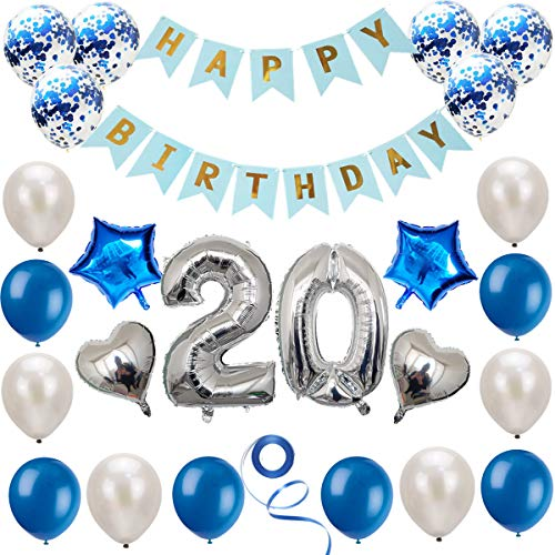 Haosell 20 Geburtstag Dekoration Set, Silber Blau Geburtstagsdeko, Geburtstagsfeier Dekoration, Happy Birthday Banner, 20 Jahre Alte Silber Zahlen Luftballons Deko für Mädchen, Jungen, Frauen, Männer