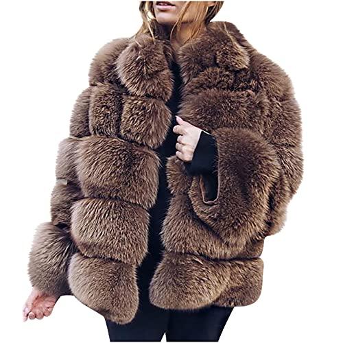 EMATOP Mantel für Damen Plüschmantel Lose Strickjacke Einfarbige Jacke Winter Warmen Sweatshirt Winterjacke Offene Front Cardigan Sexy Elegant Sweatjacke Mode Fleecejacke Bequemes Streetwear