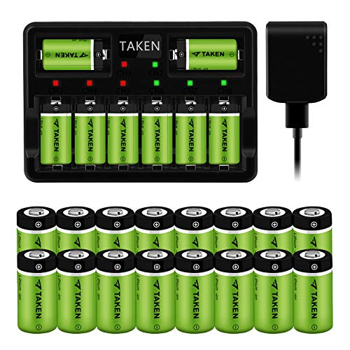 Arlo Rechargeable Batteries, Taken 24 Pack 3.7V 750mAh Recharged Battery with 8-Ports Charger for Arlo Cameras (VMC3030/VMK3200/VMS3330/3430/3530), Flashlight, Microphone