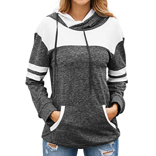 Damen Hoodie T-Shirts Patchwork Langarm Color Block Hooded Pullover Sweatshirt...