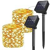 2 Piezas Guirnaldas Luces Exterior Solar, 10M 100 LEDs Luces de jardín de hadas Impermeables, Cadena de Luces Solares, Luz de Decoración Navideña para Fiestas Bodas Patio Dormitorio, Blanco Cálido