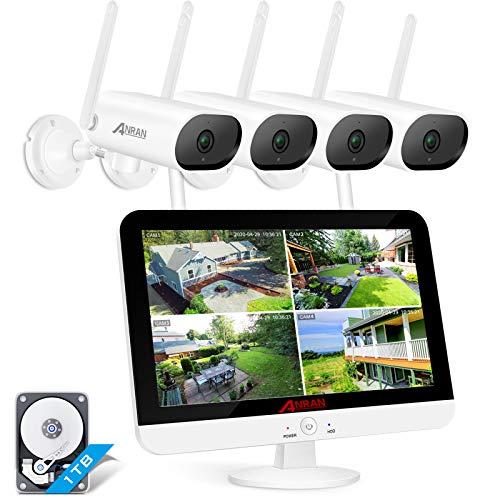 [Tonaufnahmen und 180° Schwenkbare] ANRAN 5MP Überwachungskamera Set Außen WLAN 13 Zoll 5MP HD LCD Monitor 8CH NVR mit 4X 3MP Kabellose wasserdichte Nachtsichte Kamera Vorinstalliert 1TB Festplatte
