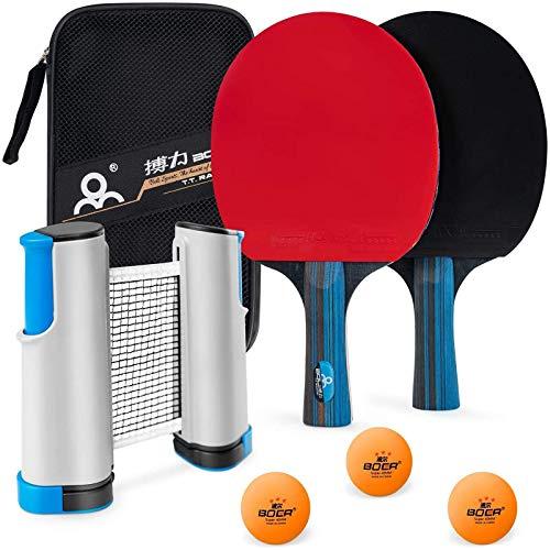 PGFUNNY Juego de ping pong de mesa, kit con red portátil retráctil, raqueta de tenis de mesa y pelotas de ping pong de 3 estrellas, accesorios para juegos profesionales y de ocio. 🔥