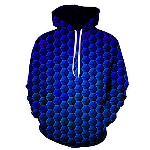 Godfai Männer Perspektive Hoodie, Digitale 3D-Geometrische Muster-Druckkopf Kappenhülse Sweatshirt,Blau,XXXXL