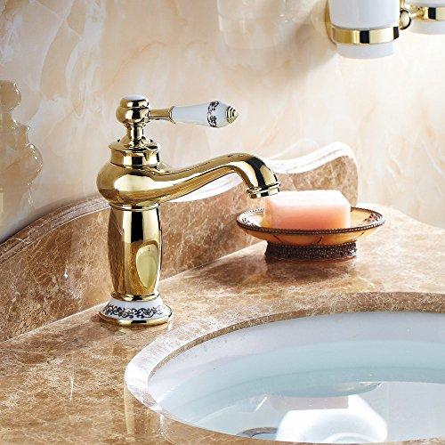 Beelee Gold poliert Armatur Wasserhahn Waschtischarmatur Messing Waschtisch Waschbecken Einhebelmischer für Bad, BL6045G