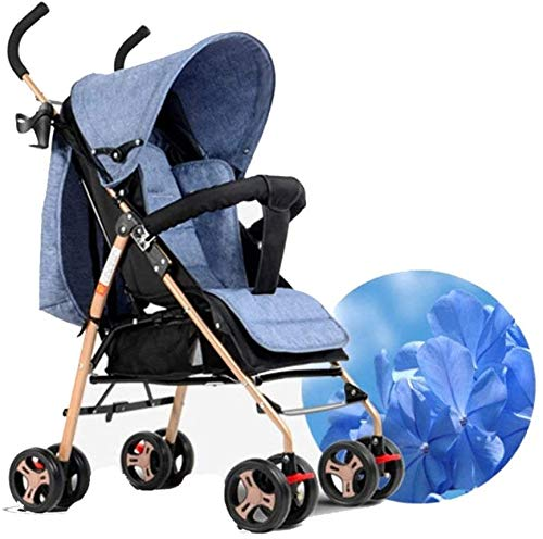 LAMTON Baby Pushchair, Buggy, Pushchairs Trolley Simple Portable Stroller Stroller Lightweight Folding Baby Carriage Baby Four Wheels (Color : Navy Blue) LAMTON The adjustable 5-point safety harness has comfortable shoulder pads, The sturdy frame has a wider seat which results in a more comfortable ride for your child The stroller can be easily folded, smaller and more portable; the adjustable backrest angle can be seated or lying down, as well as a large shopping basket and caster Meet the 0--36 months baby use, the first 6 months is not enough leg strength, lying more comfortable, you can choose to sit after 6 months, helps to exercise your baby's muscles 1