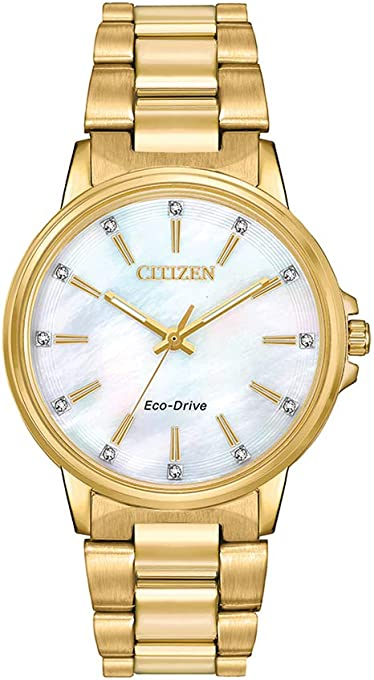 Citizen Women's Solar Powered Wrist watch, stainless steel Bracelet analog Display and Stainless Steel Strap, FE7032-51D