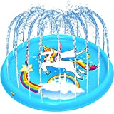 BATTOP Kids Splash Play Mat , 68'' Outdoor Water Sprinklers Pad, Babies Toddlers Inflatable Toys Pool, Backyard, Lawn Games, Summer Fun Gift, for 1-12 Years Old, Girls, Boy