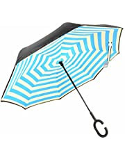 Chiasa 逆さ傘 長傘 さかさま傘 逆折り式傘 逆転傘 UVカット 晴雨兼用 手離れC型手元 耐風傘 撥水加工 ビジネス用車用 自立傘 二重傘 (20色)
