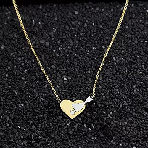 Moda Collar Joyas Gargantilla Joyería romántica de amor para mujer, collares de flecha de doble corazón, colgantes, joyería de acero inoxidable para mujer, regalo de dama de honor Cumpleaños Regalos