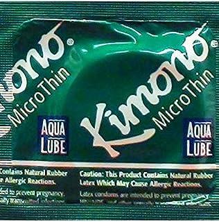 Kimono Microthin with Aqua Lube and Silver Lunamax Pocket Case, Premium Lubricated Latex Condoms-24 Count