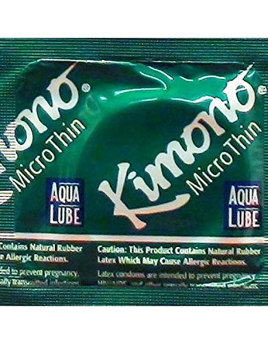Kimono Microthin with Aqua Lube and Brass Lunamax Pocket Case, Premium Lubricated Latex Condoms-24 Count