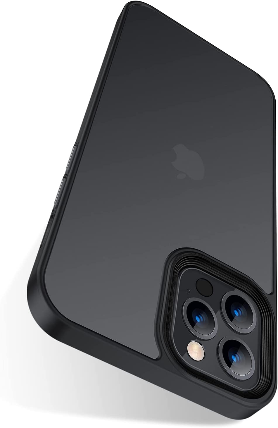 Marspeeder Shockproof Compatible for iPhone 13 Pro Max Case [5X Military Drop Protection] [Metal Button] Translucent Matte Back & Soft Non-Slip TPU Bumper, Slim Fit iPhone 13 Pro Max Case 6.7'', Black